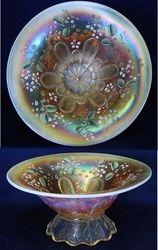 (Enameled) Stippled Petal dome ftd flared bowl, peach opal