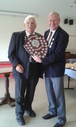 """Harvey Fruish presenting League Champions Shield to Mick Spear, Kingsthorpe """"A"""""""