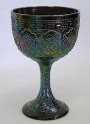 Persian Medallion goblet -purple, marked fenton