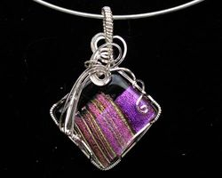 Dichroic Glass wrapped in Sterling Silver