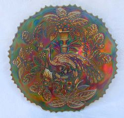 """Peacock and Urn 9"""" plate - blue"""