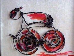 wielrenner voor aan de wand rood/rose