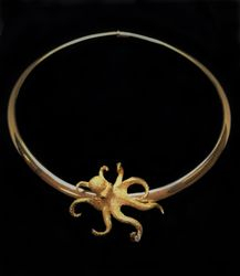 18k Octopus Brooch and Omega Chain