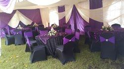 Black and purple wedding deco