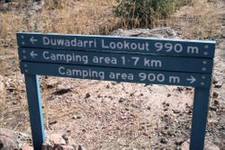 Sign near the top of Indarri Falls