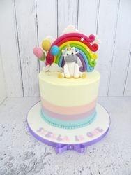 Unicorn and Rainbow Buttercream Cake