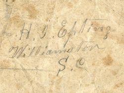 Dr. H. I. Epting of Williamston, South Carolina - back
