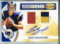 2010 SAM BRADFORD GRIDIRON GEAR BALL/PATCH/AUTO ROOKIE CARD  8/15