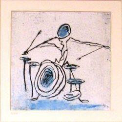 Drummer in blue