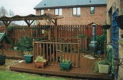 Wooden decking & pergola