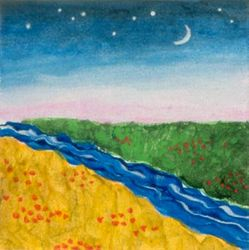 River of Life, Tempera, 4x4, Original Sold