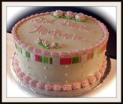 Christening Cake ~ Pink w/ Ribbon