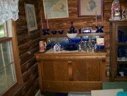 vintage colboltblur depression glass, antique tiger oak server, bessie pease guttman lithographs