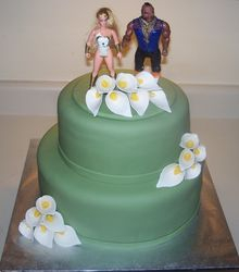 Calla Lilly Wedding cake  with topper