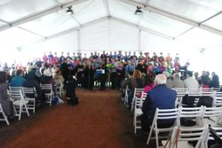 Combined choirs performing