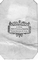 E. Long, photographer of Benton Barracks, St. Louis, Missouri - back