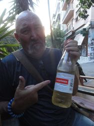 Our last night in Athens, we had tea at our usual spot, but this time Bob had picked up the only bottle of wine he could find larger than a 300ml. THAT was a waste of time. 1lt 'plastic' bottle for the equivelant of $2-.  YUK!!!!