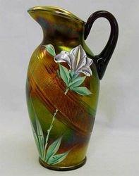 (Enameled) Iris water pitcher, amethyst