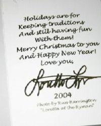 2004 inside Christmas Card