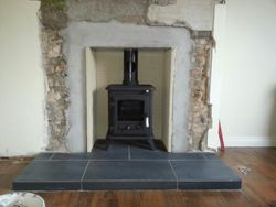 m/f stove fitted with fireboard