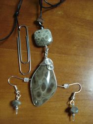 Petoskey Stone Pendant and Earrings