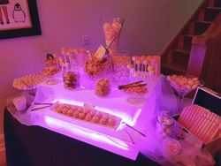 Pink LED candy buffet, Sweet table hire Manchester.
