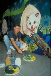 Garry with ABC Greentrain Mural 1992.