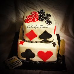 Red and White Poker and Chips Cake