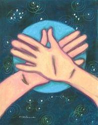 The Quiet At Night Mandala, Oil Pastel, 11x14, Original Sold