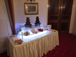 Dark and milk chocolate fountain hire at cove castle .