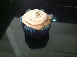 Chocolate cupcake-caramel center frosted with Salted Caramel-Cocolate Frosting