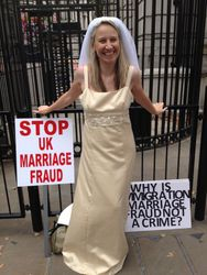 Stop UK Marriage Fraud Demonstrating outside Downing Street
