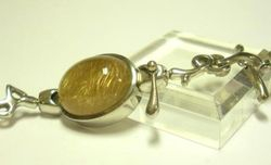 09-00131d Gold Rutilated Quartz Cabochon Sterling Link Bracelet