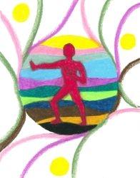 Warrior Pose Mandala, Oil Pastel, 11x14, Original Sold