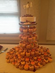 Fall Wedding Cake and Cupcakes
