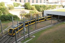 A pair of southbound Flexity Swift LRVs arriving at Trinidade.