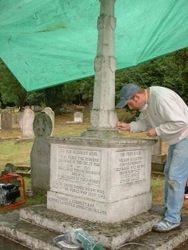 James working on the war memorial