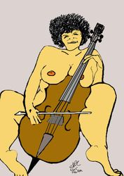 The naked cellist lady