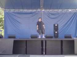 Brian under the worlds tallest mic stand