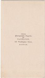 Hazelton, photographer of Boston, MA - back