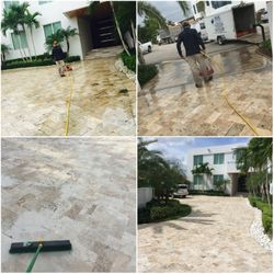 Pressure cleaning driveway and re-sand