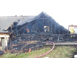 Rear of structure of Dry Ridge structure fire