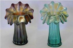 """Corinth JIP 8""""vase in amethyst and 9"""" vase in aqua, by Westmoreland"""