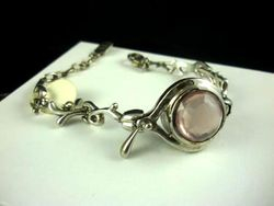 09-00130 Rose Quartz Faceted Sterling Link Bracelet