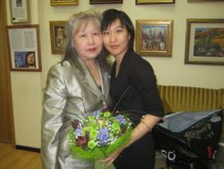 With Mom after concert, Moscow
