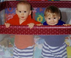 Ben and Jake in the playpen