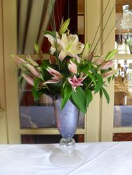 Lillies in a glass vase