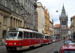 Tatra T3s and T6s on Jindrisska Street