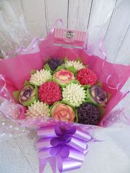 Pink, purple and white cupcake bouquet
