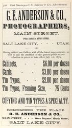 G. E. Anderson, photographer of Salt Lake City, Utah